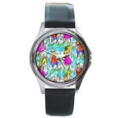 Fur Fabric Round Metal Watch