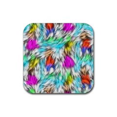 Fur Fabric Rubber Square Coaster (4 Pack)