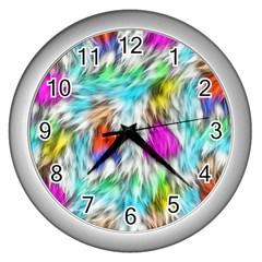 Fur Fabric Wall Clocks (silver)