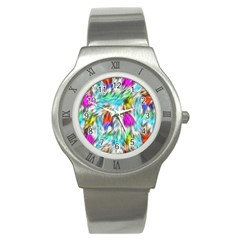 Fur Fabric Stainless Steel Watch