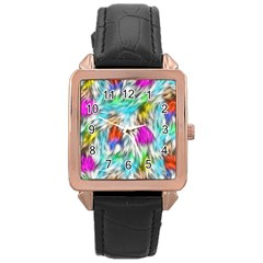 Fur Fabric Rose Gold Leather Watch