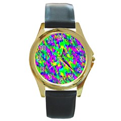 Red Black Gray Background Round Gold Metal Watch