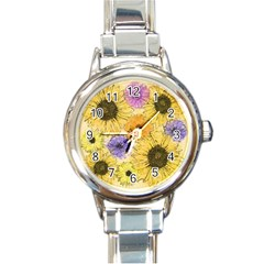 Multi Flower Line Drawing Round Italian Charm Watch