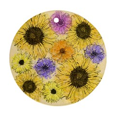Multi Flower Line Drawing Ornament (round)