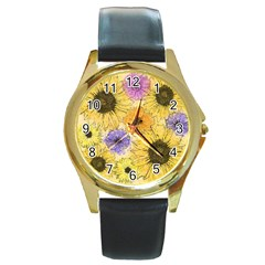 Multi Flower Line Drawing Round Gold Metal Watch