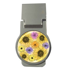 Multi Flower Line Drawing Money Clips (round)
