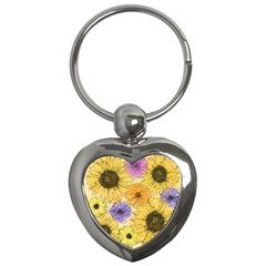 Multi Flower Line Drawing Key Chains (Heart)