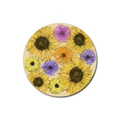 Multi Flower Line Drawing Rubber Round Coaster (4 Pack)