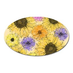 Multi Flower Line Drawing Oval Magnet