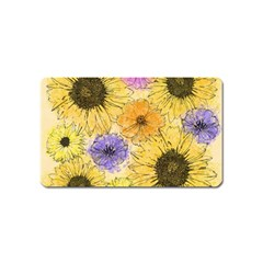Multi Flower Line Drawing Magnet (Name Card)