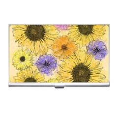 Multi Flower Line Drawing Business Card Holders