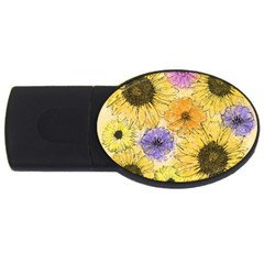 Multi Flower Line Drawing USB Flash Drive Oval (1 GB)