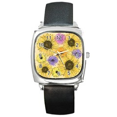Multi Flower Line Drawing Square Metal Watch