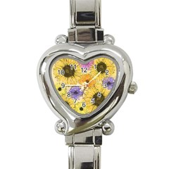 Multi Flower Line Drawing Heart Italian Charm Watch