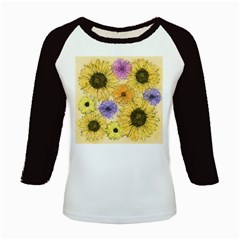 Multi Flower Line Drawing Kids Baseball Jerseys