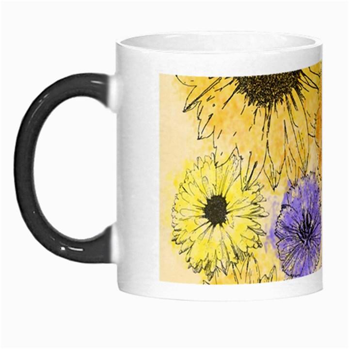 Multi Flower Line Drawing Morph Mugs