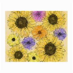 Multi Flower Line Drawing Small Glasses Cloth