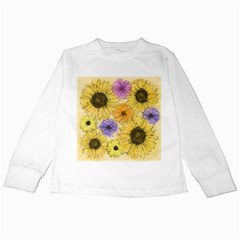 Multi Flower Line Drawing Kids Long Sleeve T-Shirts