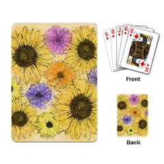 Multi Flower Line Drawing Playing Card