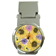 Multi Flower Line Drawing Money Clip Watches