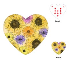 Multi Flower Line Drawing Playing Cards (Heart)