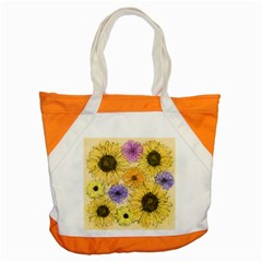Multi Flower Line Drawing Accent Tote Bag