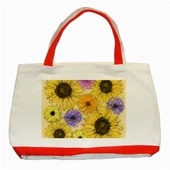 Multi Flower Line Drawing Classic Tote Bag (Red)