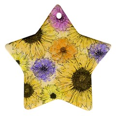 Multi Flower Line Drawing Star Ornament (two Sides)