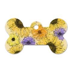 Multi Flower Line Drawing Dog Tag Bone (two Sides)