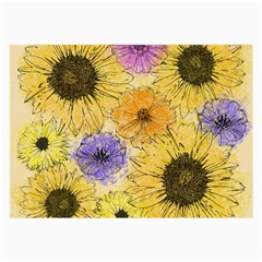 Multi Flower Line Drawing Large Glasses Cloth