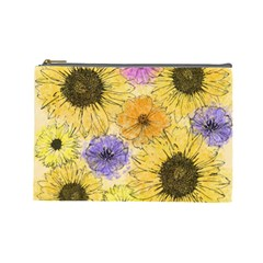 Multi Flower Line Drawing Cosmetic Bag (large)