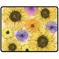 Multi Flower Line Drawing Fleece Blanket (medium)