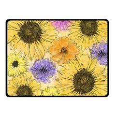 Multi Flower Line Drawing Fleece Blanket (small)