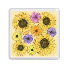 Multi Flower Line Drawing Memory Card Reader (square)