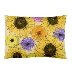 Multi Flower Line Drawing Pillow Case (Two Sides)