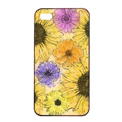 Multi Flower Line Drawing Apple Iphone 4/4s Seamless Case (black)