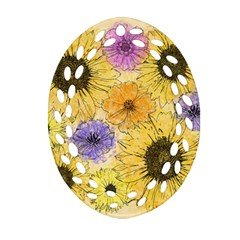 Multi Flower Line Drawing Oval Filigree Ornament (Two Sides)