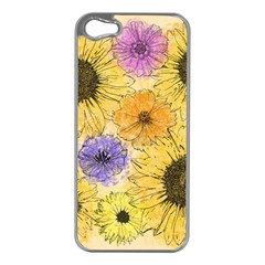 Multi Flower Line Drawing Apple iPhone 5 Case (Silver)