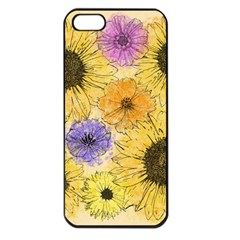 Multi Flower Line Drawing Apple iPhone 5 Seamless Case (Black)