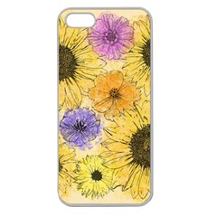 Multi Flower Line Drawing Apple Seamless iPhone 5 Case (Clear)