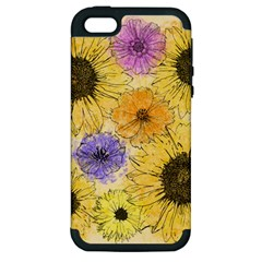 Multi Flower Line Drawing Apple iPhone 5 Hardshell Case (PC+Silicone)