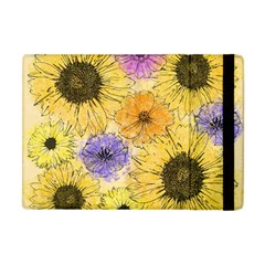 Multi Flower Line Drawing Apple iPad Mini Flip Case