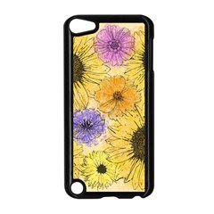Multi Flower Line Drawing Apple Ipod Touch 5 Case (black)