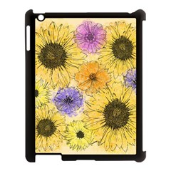 Multi Flower Line Drawing Apple iPad 3/4 Case (Black)