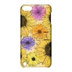 Multi Flower Line Drawing Apple iPod Touch 5 Hardshell Case with Stand