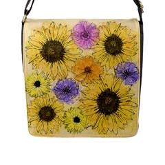Multi Flower Line Drawing Flap Messenger Bag (L)