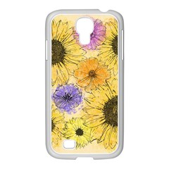Multi Flower Line Drawing Samsung GALAXY S4 I9500/ I9505 Case (White)