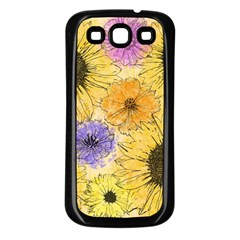 Multi Flower Line Drawing Samsung Galaxy S3 Back Case (Black)
