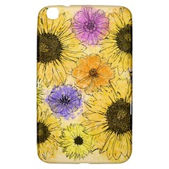Multi Flower Line Drawing Samsung Galaxy Tab 3 (8 ) T3100 Hardshell Case