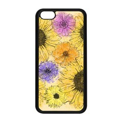 Multi Flower Line Drawing Apple Iphone 5c Seamless Case (black)